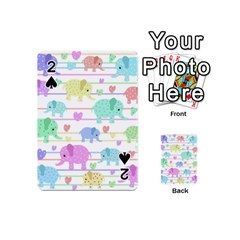 Elephant Pastel Pattern Playing Cards 54 (mini)  by Valentinaart