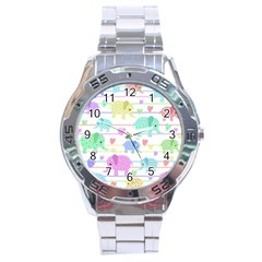 Elephant Pastel Pattern Stainless Steel Analogue Watch by Valentinaart