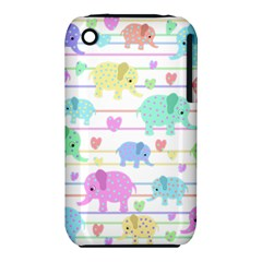Elephant Pastel Pattern Iphone 3s/3gs by Valentinaart