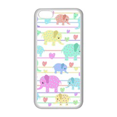 Elephant Pastel Pattern Apple Iphone 5c Seamless Case (white) by Valentinaart