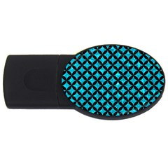 Circles3 Black Marble & Turquoise Marble (r) Usb Flash Drive Oval (2 Gb) by trendistuff
