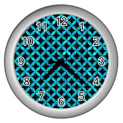 Circles3 Black Marble & Turquoise Marble Wall Clock (silver) by trendistuff