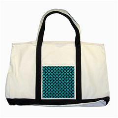 Circles3 Black Marble & Turquoise Marble Two Tone Tote Bag by trendistuff