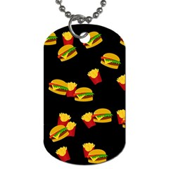 Hamburgers And French Fries Pattern Dog Tag (two Sides) by Valentinaart