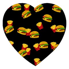 Hamburgers And French Fries Pattern Jigsaw Puzzle (heart) by Valentinaart