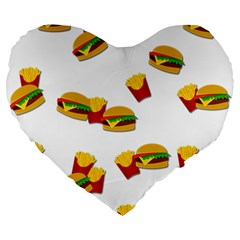 Hamburgers And French Fries  Large 19  Premium Heart Shape Cushions by Valentinaart