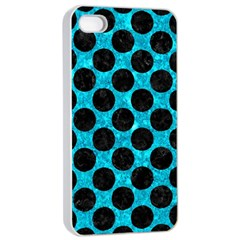 Circles2 Black Marble & Turquoise Marble (r) Apple Iphone 4/4s Seamless Case (white) by trendistuff