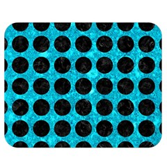 Circles1 Black Marble & Turquoise Marble (r) Double Sided Flano Blanket (medium) by trendistuff