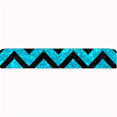Chevron9 Black Marble & Turquoise Marble (r) Small Bar Mat by trendistuff