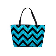 Chevron9 Black Marble & Turquoise Marble (r) Classic Shoulder Handbag by trendistuff