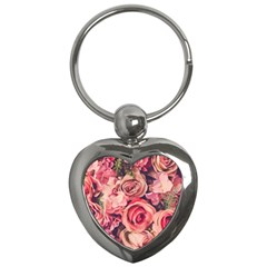 Beautiful Pink Roses Key Chains (heart)  by Brittlevirginclothing