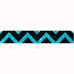 Chevron9 Black Marble & Turquoise Marble Small Bar Mat by trendistuff
