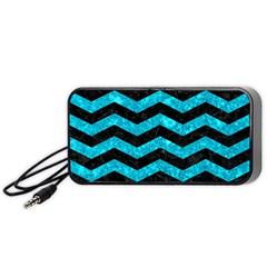 Chevron3 Black Marble & Turquoise Marble Portable Speaker (black) by trendistuff