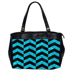 Chevron2 Black Marble & Turquoise Marble Oversize Office Handbag (2 Sides) by trendistuff