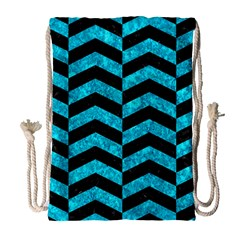 Chevron2 Black Marble & Turquoise Marble Drawstring Bag (large) by trendistuff
