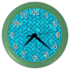 Brick2 Black Marble & Turquoise Marble (r) Color Wall Clock by trendistuff