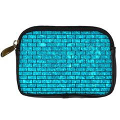 Brick1 Black Marble & Turquoise Marble (r) Digital Camera Leather Case by trendistuff