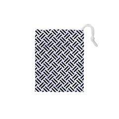 Woven2 Black Marble & White Marble (r) Drawstring Pouch (xs) by trendistuff