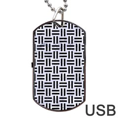 Woven1 Black Marble & White Marble (r) Dog Tag Usb Flash (one Side) by trendistuff