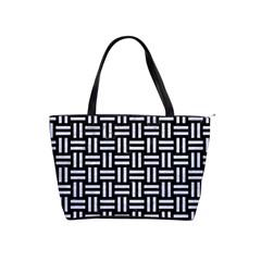 Woven1 Black Marble & White Marble Classic Shoulder Handbag by trendistuff