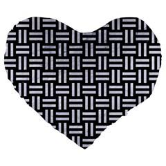 Woven1 Black Marble & White Marble Large 19  Premium Flano Heart Shape Cushion by trendistuff