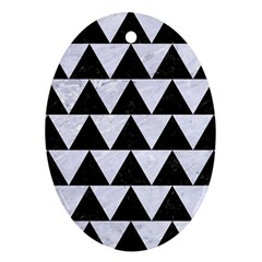 Triangle2 Black Marble & White Marble Oval Ornament (two Sides) by trendistuff