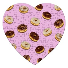 Donuts Pattern   Pink Jigsaw Puzzle (heart) by Valentinaart