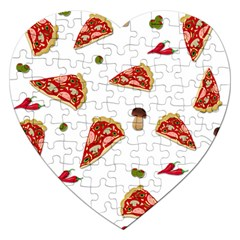 Pizza Pattern Jigsaw Puzzle (heart) by Valentinaart