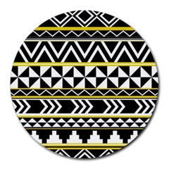 Black bohemian Round Mousepads by Brittlevirginclothing
