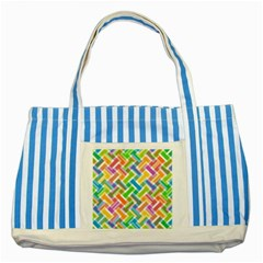 Abstract Pattern Colorful Wallpaper Striped Blue Tote Bag by Amaryn4rt