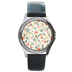 Abstract Vintage Flower Floral Pattern Round Metal Watch by Amaryn4rt