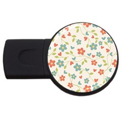 Abstract Vintage Flower Floral Pattern USB Flash Drive Round (2 GB) by Amaryn4rt