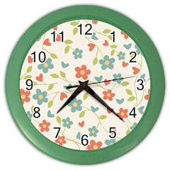 Abstract Vintage Flower Floral Pattern Color Wall Clocks by Amaryn4rt