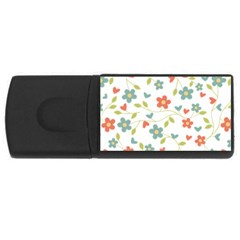 Abstract Vintage Flower Floral Pattern Usb Flash Drive Rectangular (4 Gb) by Amaryn4rt