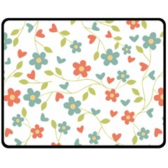 Abstract Vintage Flower Floral Pattern Double Sided Fleece Blanket (medium)  by Amaryn4rt
