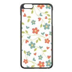 Abstract Vintage Flower Floral Pattern Apple Iphone 6 Plus/6s Plus Black Enamel Case by Amaryn4rt
