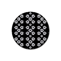 Dark Floral Rubber Round Coaster (4 Pack)  by dflcprints