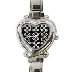 Dark Floral Heart Italian Charm Watch by dflcprints