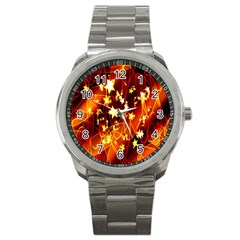 Background Pattern Lines Oval Sport Metal Watch by Amaryn4rt