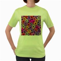 Floral Pattern Women s Green T Shirt by Amaryn4rt