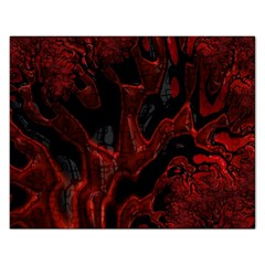 Fractal Red Black Glossy Pattern Decorative Rectangular Jigsaw Puzzl by Amaryn4rt