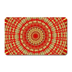 Gold And Red Mandala Magnet (rectangular) by Amaryn4rt
