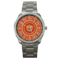 Gold And Red Mandala Sport Metal Watch by Amaryn4rt