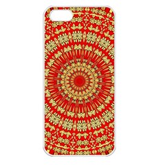 Gold And Red Mandala Apple Iphone 5 Seamless Case (white)