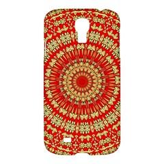 Gold And Red Mandala Samsung Galaxy S4 I9500/i9505 Hardshell Case by Amaryn4rt