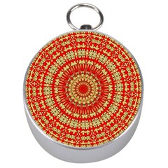 Gold And Red Mandala Silver Compasses by Amaryn4rt