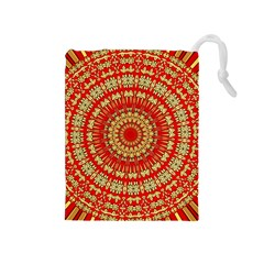 Gold And Red Mandala Drawstring Pouches (medium)  by Amaryn4rt