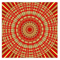 Gold And Red Mandala Large Satin Scarf (square) by Amaryn4rt