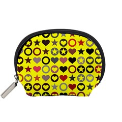 Heart Circle Star Seamless Pattern Accessory Pouches (small)  by Amaryn4rt