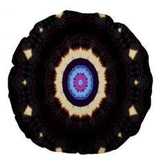 Mandala Art Design Pattern Ornament Flower Floral Large 18  Premium Flano Round Cushions by Amaryn4rt